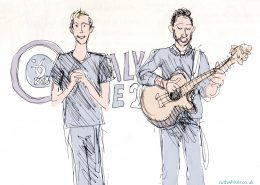 Sketch of Harry and Chris singing and playing guitar